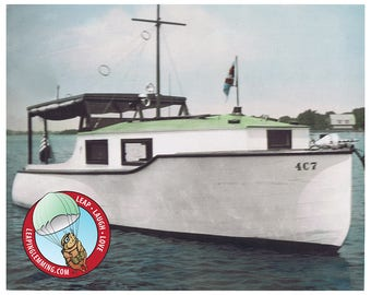 1930s Motor Boat Photo - Colorized Black & White Nautical Photo - New England Cabin Cruiser - INSTANT DOWNLOAD