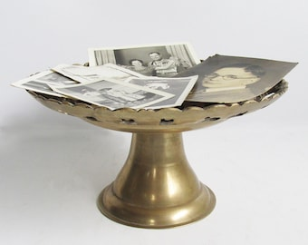 """Vintage Solid Brass Serving Stand - Fruit Stand - Cake Stand """"So Many Possibilities"""""""