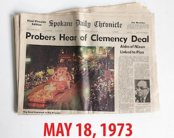 """Old Newspaper from the 1970s - Spokane, WA - Spokane Daily Chronicle - Pacific Northwest """"Free USA Shipping"""""""