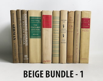 """One Foot of Vintage Beige Books, Books by the Foot, Decorator Books, 12"""" Decor Book Bundle """"Free USA Shipping"""""""