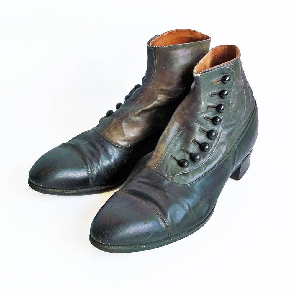 Late 1800s Edwin Clapp Two-Tone Leather - Shoes-Boots from Portland, OR - Leather Small Mens or Youth Size 82cede