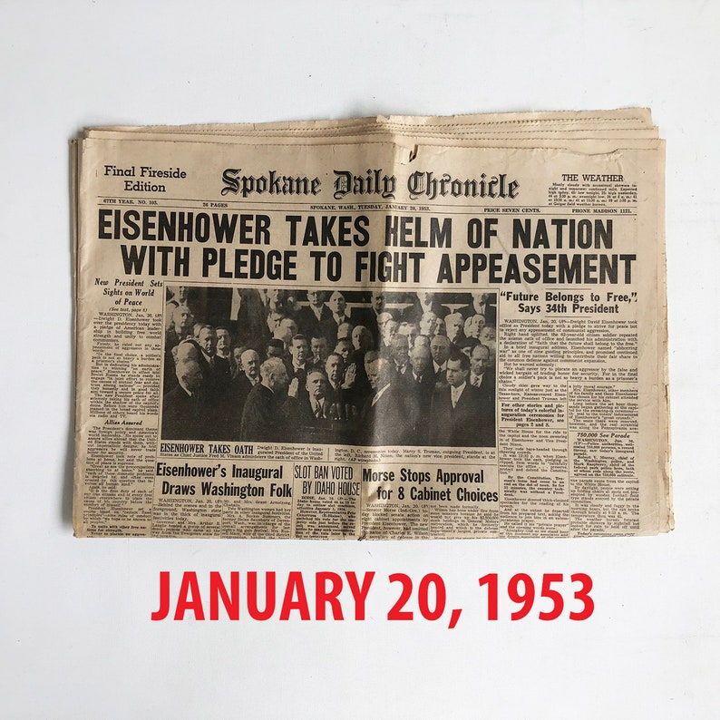 Old Newspaper from 1950s-1960s  Dwight Eisenhower Headlines  image 0