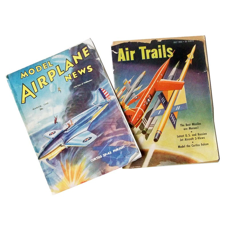 Two 1940s-50s Model Airplane Magazines  Model Airplane News & image 0