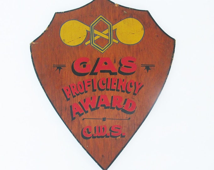"""Featured listing image: Mid Century Hand Painted """"Gas Proficiency Award"""" Sign - Plaque"""