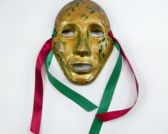 Vintage Hand-Painted Brass Mask - Oriental Wall Hanging