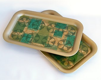 """Two Mid Century Mod Printed Metal Lap Trays """"Green & Gold"""""""