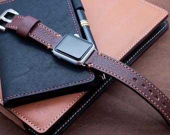 Apple Watch Band in Chestnut Brown, Apple Watch 44mm, 40mm, 42mm, 38mm Strap, Watchband 22mm, 20mm, Galaxy Watch 46mm, 42mm Watchband