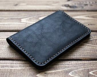 Minimalist Wallet, Card Holder, Card Case, Slim Leather Wallet, Vintage Wallet, Black Leather Wallet, Men's Gift, Business,  colleague Gift