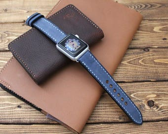 Paraffin Coated Italian Leather Apple Watch Band Strap in BLUEBERRY Blue