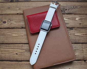 WHITE Hand Stitched Apple Watch Leather Band Strap