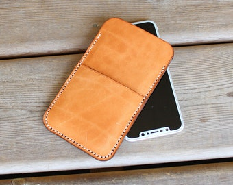 Traditional Harness Vegetable Leather iPHONE Sleeve Case, iPhone X, iPhone 8 plus, iPhone 8,  iPhone 6, 6s, 6 plus, 7, 7 plus, iPhone SE