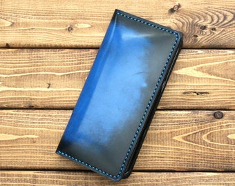 Galaxy S10, S10 Plus, Google Pixel, Galaxy Note, Galaxy Edge, LGv30, LGv40 thinQ, Nexus, Android phone wallet in Hand Burnished Cobalt Blue