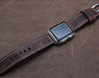 Apple Watch band in Italian VINTAGE WASHING TAN Leather