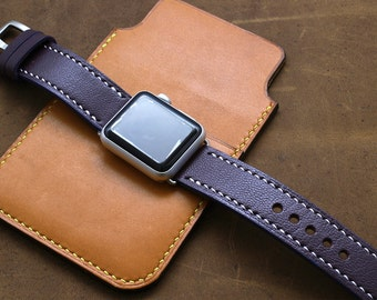 Italian Goat PURPLE Leather Watch Strap for Apple Watch