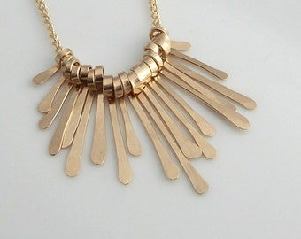 158663508 Hammered Fringe Necklace - gold necklace - silver necklace - eye catching  necklace - handmade necklace