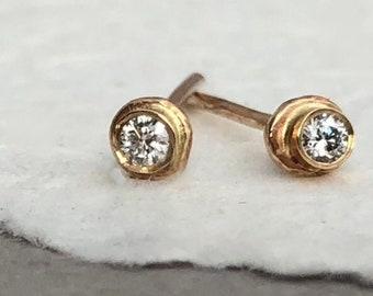 Organic Form Diamond Studs, Diamond Studs, Diamond Earrings, Diamond Stud Earrings, Gold Studs, Round Diamond Studs, Alternative Bridal