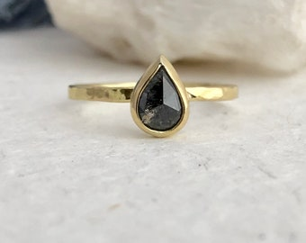 Salt And Pepper Diamond Marquise Ring Salt And Pepper Etsy