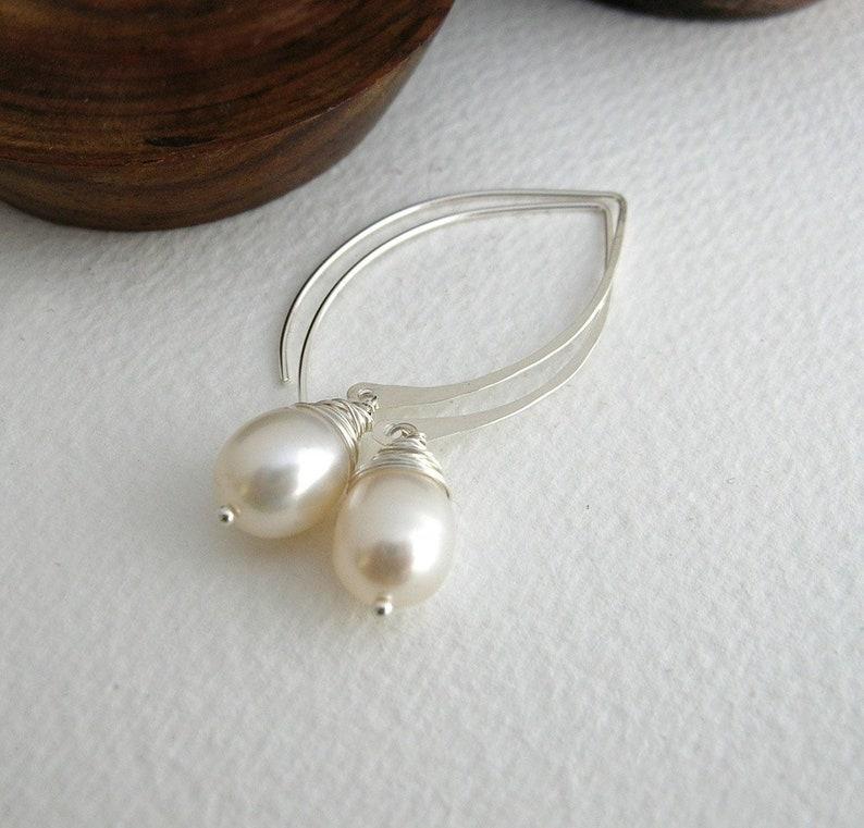 d95fd4644 Pearl Long Hoops Pearl Earrings Grey Pearl Bridal | Etsy