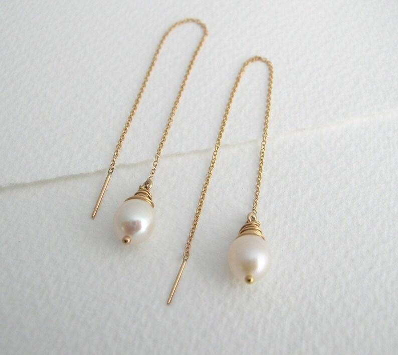 e2cc9e12a Freshwater Pearl Ear Threads Pearl Drop Earrings Threader | Etsy