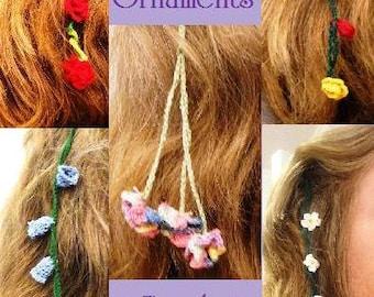Crochet Pattern Flower Strings Hair Ornaments  6 flower and 4 stem designs PDF instant digital download