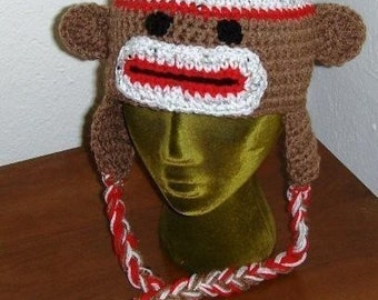 Sock Monkey Hat  with Earflaps Crochet Instructions Adult or Teen Size  PDF instant digital download