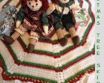 Crochet Pattern Holiday Christmas Tree Skirt PDF instant digital download