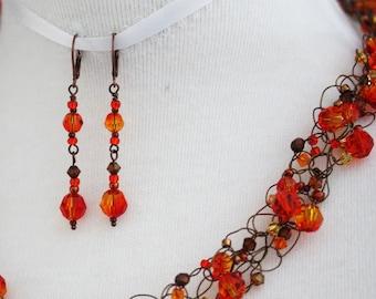 Necklace & Earring Set Swarovski Fire Opal