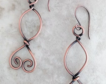 Handmade Copper Earrings Wire Wrapped & Oxidized