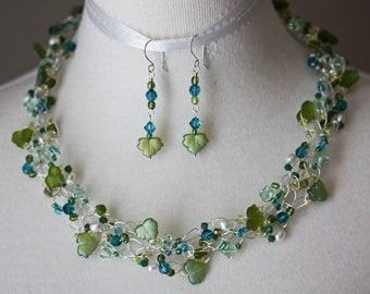 Handmade Wire Crochet Necklace & Earring Set in Swarovski and Czech Glass