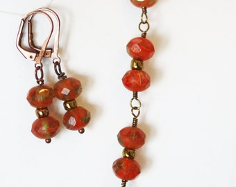 Czech Picasso Linked Necklace & Earring Set in Burnt Orange and Peridot Hues