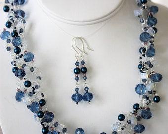 Handmade Wire Crochet Necklace & Earrings, Austrian Crystal, Swarovski, Opalite