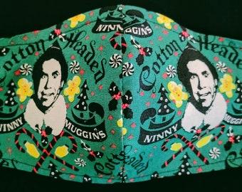 BUDDY THE ELF Holiday Face Masks-Cotton Headed Ninny Muggins-Optional Filter Pocket-Adjustable- Nose Wire