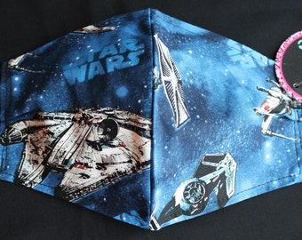 STAR WARS Face Masks- FILTER Pocket-Adjustable Elastic-Nose Wire