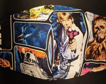 STAR WARS Masks- Luke, Leia & Han- Optional Filter Pocket-Adjustable Elastic-Nose Wire
