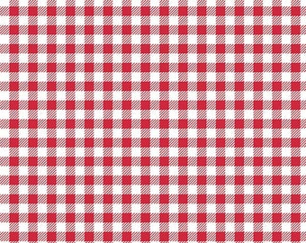 Red Gingham Fabric - Riley Blake Bake Sale 2 Fabric by Lori Holt - Red and White Fabric By The 1/2 Yard or Fat Quarter