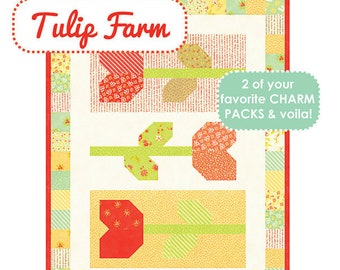 Table Runner Quilt Kit - Fig Tree Quilts Tulip Farm Pattern with Ella and Ollie Fabric - Quilted Table Runner Kit