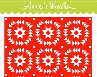 """Annie's Wreaths Quilt Pattern by Fig Tree & Co - Finished Quilt Size 68"""" sq, Finished Pillow Size 24"""" sq"""