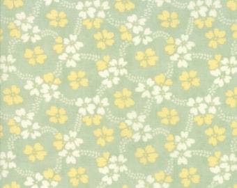 Fig Tree Fabric - Ella and Ollie Fabric Yardage - Moda Quilt Fabric - Aqua Green Floral Fabric By The 1/2 Yard -