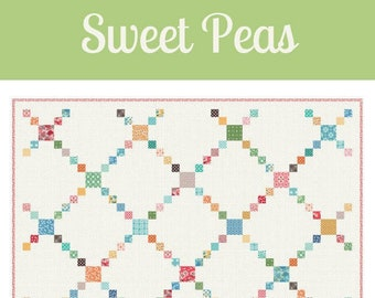 """Sweet Peas Quilt Pattern by Stacy Cooper of Farm Road Quilts - Downloadable PDF - 66.5"""" Square Finished Size"""