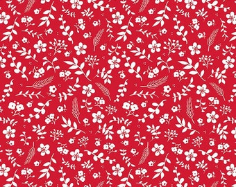 Red and White Fabric - Riley Blake Sweet Prairie Fabric - Red Floral Fabric By The 1/2 Yard