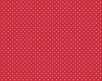Red and White Polka Dot Fabric - Riley Blake Swiss Dot - Red Polka Dot Fabric By The 1/2 Yard