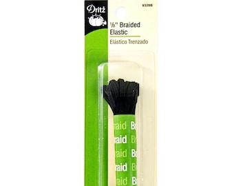 """Black Elastic - Dritz 1/8"""" Braided Elastic - 4 Yard Package"""