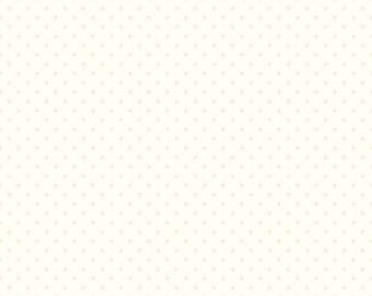 "17"" x 42"" Remnant Cream Polka Dot Fabric - Cream Tonal Cream Dot - Riley Blake Swiss Dots Le Creme - Cream Tone on Tone Quilting Fabric"