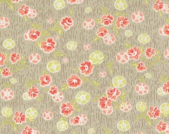 Strawberries & Rhubarb Fabric by Fig Tree and Moda - Summer Posies Taupe Floral Fabric by the 1/2 Yard or Fat Quarter