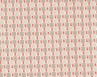 Strawberries & Rhubarb Fabric by Fig Tree and Moda -  Taupe and White Flower Check Fabric by the 1/2 Yard or Fat Quarter