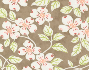 Strawberries & Rhubarb Fabric by Fig Tree and Moda - Taupe Dogwood Floral Fabric by the 1/2 Yard or Fat Quarter