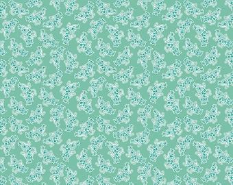 Lori Holt Stitch Fabric by Riley Blake - Sea Glass Green Bouquet Fabric by the 1/2 Yard or Fat Quarter