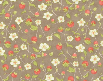 Strawberries & Rhubarb Fabric by Fig Tree and Moda -  Taupe Strawberry Floral Fabric by the 1/2 Yard or Fat Quarter