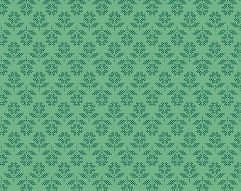 Lori Holt Stitch Fabric by Riley Blake - Alpine Green Stitched Flower Fabric by the 1/2 Yard or Fat Quarter