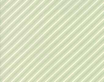 Fig Tree Fabric - Ella and Ollie Fabric Yardage - Moda Quilt Fabric - Aqua Green Stripe Fabric By The 1/2 Yard -